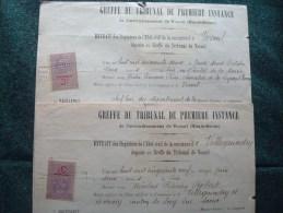 FISCAUX DIMENSION N°69 . Sur 2 EXTRAITS D'ETAT CIVIL. TPI VESOUL De 1922 - Fiscale Zegels