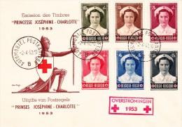 912 917 PC 11 Commémoratif  Overstromingen Inondations Croix-Rouge Joséphine Charlotte Princesse 2-4-1953 B Automobiel - FDC