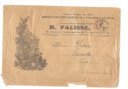 Courrier Enveloppe Coupée Timbre Semeuse 25c Orange GRAINES POTAGERES FOURRAGERES H PALISSE CHATEAUROUX 36 INDRE BERRY - 1903-60 Semeuse Lignée