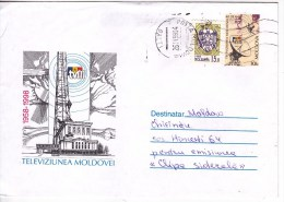 Moldova  ; Moldavie  ; Moldau  ; 1998  ;  Television - 40 Years  ; Pre-paid Envelope ; Used - Moldova