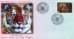 WWF YEAR OF THE TIGER STAMP FDC NEPAL 2010 MINT - W.W.F.