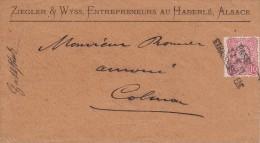Y&T 38 Sur Ebveloppe Obl  BASEL / 11.5. II / STRASBURG I. E Adressée à Colmar Le 14.05.1876 - Marcophilie (Lettres)