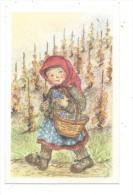 11262 - Mini Carte Jeune Fille Et Son Panier De Raisins Par A.Bo - Vignes