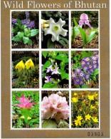 WILD FLOWERS OF BHUTAN 8 STAMP MINIATURE SHEET 2014 MINT MNH - Planten