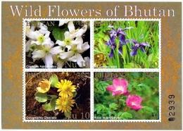 WILD FLOWERS OF BHUTAN 4 STAMP MINIATURE SHEET 2014 MINT MNH - Planten