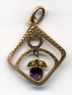 Ciondolo O Pendente Originale D' Epoca Liberty In Oro Antco+ametista+2 Perline Gr.1,20 Punzonato FRON-cm.2.10x3 - Pendenti