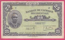 BANQUE DE L´AFRIQUE OCCIDENTALE . 25 FRANCS  1942 .série Z, N°0888707. - Otros – Africa
