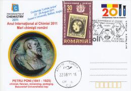 10500- CHEMISTRY INTERNATIONAL YEAR, PETRU PONI, SPECIAL POSTCARD, 2011, ROMANIA - Chimica