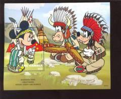 GAMBIA   1713 MINT NEVER HINGED SOUVENIR SHEET OF DISNEY ; COWBOYS & INDIANS    #  163-4 - Disney