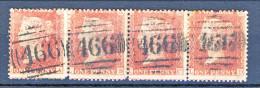 UK 1854 Victoria N. 14 - 1 Penny Rosso Carminio, Striscia Di Quattro LA-LD, Annullo  Numerale 466 - Usados