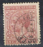 Sello 15 Cts Impuesto Guerra Alfonso XII, Fechador ALICANTE, Num 188 º - Impuestos De Guerra