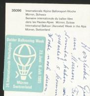 MÜRREN BE BALLOON Ballon Dolder Ballooning Week Alpine Ballonsport-Woche 1986 - Montgolfières