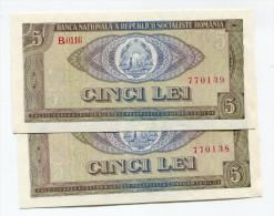 Roumanie Romania Rumänien 5 Lei 1966 - 2 Consecutives - Roumanie