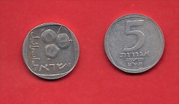 ISRAEL, 1960-1975,  Circulated Coin, 5 Arogot, Aluminum, Km25.B,  C1713 - Israël