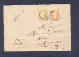 ISERE 38 BOURGOIN Devant De Bande De Papier D´affaires Type 15 Du 30/08/1866 Sur N° 21 Et 23 TTB - 1849-1876: Période Classique