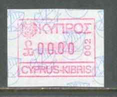 1989 CYPRUS SPECIMEN 00.00 VALUE AUTOMAT ATM FRAMA LABEL CODE 002 MICHEL: AUT1 MNH ** - Chypre (République)