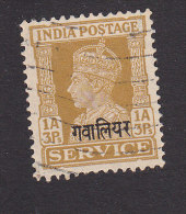 India, Gwalior, Scott #O57, Used, King George VI Overprinted, Issued 1942 - Gwalior