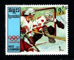 KAMPUCHEA - CAMBOGIA - Year 1987 - Calgary 88 - Ice Hockey - Usato - Used. - Hockey (su Ghiaccio)