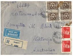 (001) Registered Air Mail Cover Posted From Ex-yugoslavia To Australia - 1949 - 1945-1992 République Fédérative Populaire De Yougoslavie