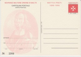 SMOM Sovereign Military Order Of Malta - Postal Stationery - Mattia Preti 1999 * * - Malta (Orde Van)