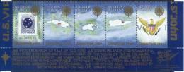 1987 US Virgin Islands Maps Strip 5v., Coat Of Arms , Stamp On Stamp, Christmas Seal Benefit MNH - Danish West Indies