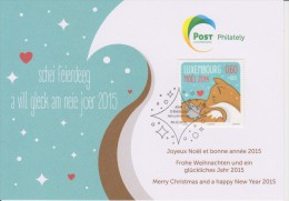 Luxembourg Christmas Card 2014 - Fox And Rabbit - Stamped Stationery