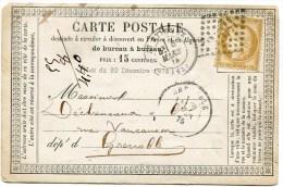 LOIRE De SAINT ETIENNE CP Du 06/03/1875 Avec N°55 Oblitéré GC 3581 - 1849-1876: Klassieke Periode