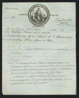 Document dat� d'Aix-la-Chapelle An 3 illustr� vignette embl�matique - symboles ma�onniques