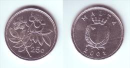 Malta 25 Cents 2001 - Malte