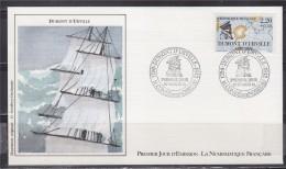 = Grand Navigateur Français Buste Carte Du Périple Enveloppe 1e Jour Dumont D'Urville Condé Sur Noireau 20.2.1988 N°2522 - Explorateurs