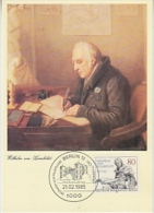 Berlin 1985 Wilhelm Von Humboldt 1v Maximum Card (19042) - [5] Berlijn