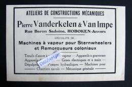 Reclame VANDERKELEN & VAN IMPE Ateliers Constructions Mécaniques HOBOKEN Rue Baron Sadoine  1930 Approx 21-13 Cm PUB - Advertising