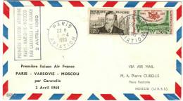 FRANCIA - France - 1960 - First Flight - Premier Vol - Paris-Varsovie-Moscou - Air France - Aerei