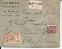 1927 - MERSON + SEMEUSE - ENVELOPPE CHARGEE De ST FLOUR (CANTAL) Pour SAUXILLANGES - Postmark Collection (Covers)