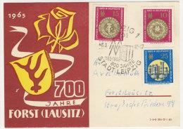 DDR Michel No. 1090 - 1092 auf Postkarte mit Zudruck 700 Jahre Forst Lausitz 1965