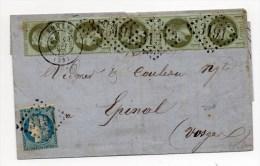 193 SEPT 1871 - LETTRE De ROMANS (DROME) Avec N° 37 + 24 X5  & GC 3191 - AFFRANCHISSEMENT DE SEPTEMBRE 1871 - Marcophilie (Lettres)