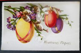 LITHO Illustrateur FOX  Oeufs Oeuf  Multicolore Paques Fleurs Perce-neige Chatons De Noisetier ECRITE 1951 - Pâques