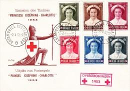 912 917 PC 12 Commémoratif  Overstromingen Inondations Croix-Rouge Joséphine Charlotte Princesse 2-4-1953 B Automobiel - FDC