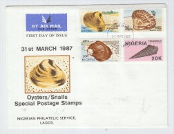 Nigeria SEASHELLS SEA SHELLS FIRST DAY COVER FDC 1987 - Marine Life