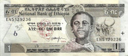 ETHIOPIA 1 BIRR GREY MAN ANIMAL FRONT BIRD WATERFALL BACK SIGN6 DATED EE1995-CE2003 P48c UNC READ DESCRIPTION !! - Etiopía