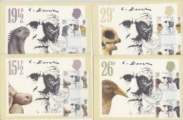Great Britain 1982 Charles Darwin 4 Gutter Pairs On 4 Maximum Cards (19062) - Maximumkaarten