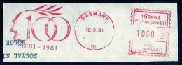 Machine Stamps (ATM) Red Special Cancels BASMANE 10.8.81 (#60) - 1921-... République
