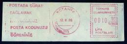 Machine Stamps (ATM) Red Special Cancels KUTAHYA 12.8.86 (#58) - 1921-... République