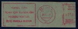 Machine Stamps (ATM) Red Special Cancels BERGAMA 29.11.77 (#48) - 1921-... République