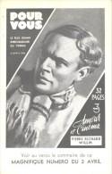 Affichette, Format Carte Postale, Pierre Richard-Willm, Hebdomadaire POUR VOUS 2 Avril 1936, état Parfait, Cinema Film - Affiches