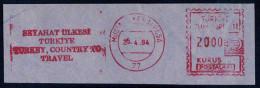 Machine Stamps (ATM) Red Special Cancels MUSTAFA KEMAL PASA 25.4.84 (#18) - 1921-... République
