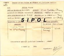 Guerre 1939/45 Demande De Bon D Achat De Vêtement Et Articles Textiles N° 86154  Commune De Nancy Année 1943 - Equipement