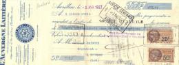 Lettre Change N° 1195 5/4/1927 L´AUVERGNE LAITIERE Fromage Bleu  AURILLAC Cantal Pour Gourdon Lot - Timbre Fiscal - Lettres De Change