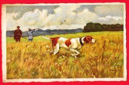 [DC5168] CARTOLINA - CANI - BATTUTA DI CACCIA - Viaggiata 1928 - Old Postcard - Chiens