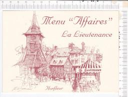 """LA LIEUTENANCE  -   HONFLEUR  - Menu """" AFFAIRES """"  -  Photo à L Intérieur  -    Carte Double - Menus"""